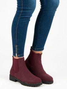 Casualové červené kotníkové boty