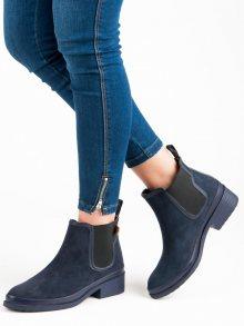 Krásné modré kotníkové boty