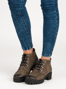 Šněrovací khaki botky na podpatku