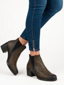 Originální olivové kotníkové boty na podpatku