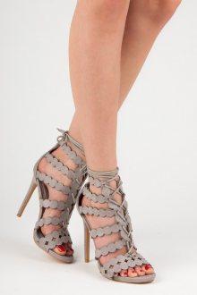 Sexy šedé sandály na vysokém jehlovém podpatku