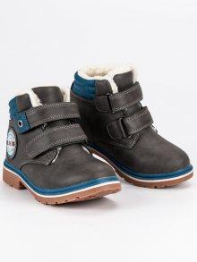 Pohodlné šedé chlapecké boty na suchý zip