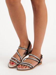 Stylové ploché černé sandály