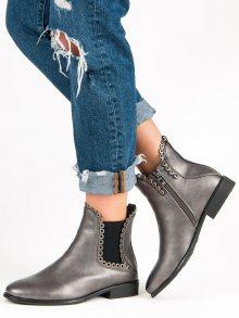 Šedé kotníkové boty na zip