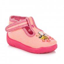 Perfektní růžové dívčí papuče s včelkou