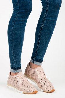 Netradiční růžové tenisky s lesklým vzorem