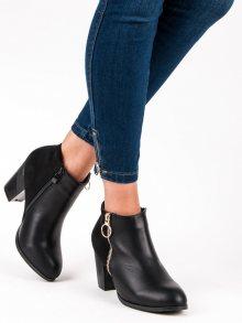 Podzimní černé kotníkové botky na zip