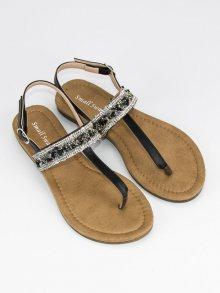 Romantické černé sandály s třpytivým páskem