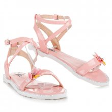 Lakované růžové sandály s motýlkem