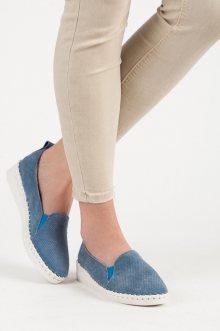 Pohodlné modré kožené mokasíny