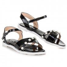 Ploché černé sandály s perličkami