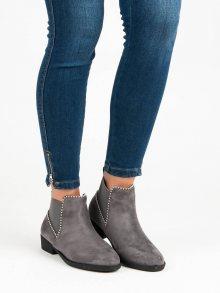 Elegantní šedé kotníkové boty