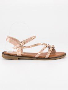 Stylové zlaté ploché sandály se cvoky
