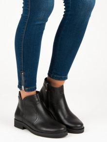 Nízké černé kožené kotníkové boty