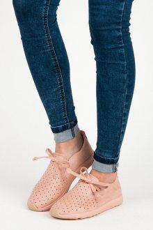 Nazouvací růžové semišové ažurové tenisky