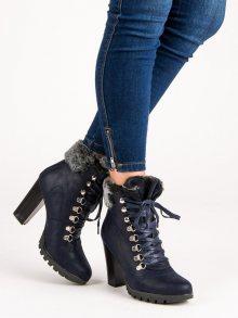 Šněrovací tmavě modré botky na sloupku