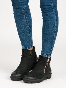 Nízké černé kožené botky na zip