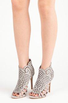 Sexy semišové šedé sandály na jehlovém podpatku