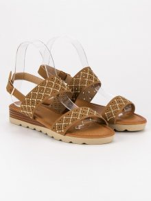 Ažurové hnědé ploché sandály