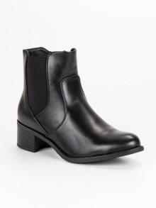 Dokonalé černé kotníkové boty na nízkém podpatku