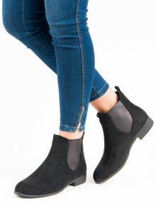 Stylové nízké černé kotníkové boty