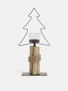 Hnědý kovový svícen ve tvaru stromku Kaemingk