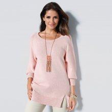Venca Dlouhý pulovr s rozparky světle růžová XXL