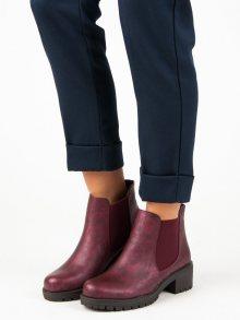 Elegantní vínové kotníkové boty s elastickými vsadkami