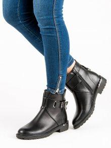 Pohodlné černé botky s přezkami