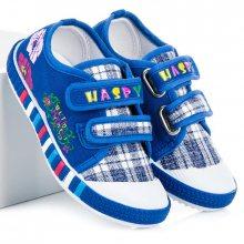 Dětské modré kárované tenisky na suchý zip