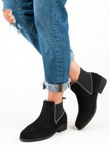 Semišové černé kotníkové boty