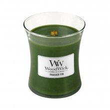 WoodWick Jedle - svíčka ve skleněné dekorativní váze s dřevěným víčkem\n\n