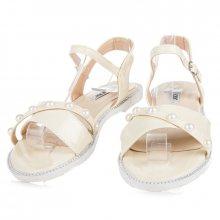 Ploché žluté sandály s perličkami