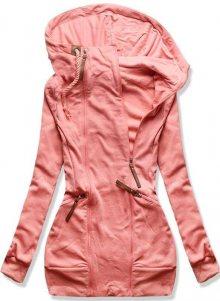 Lososovo růžová prodloužená mikina na zip