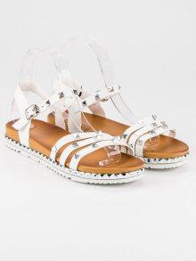 Originální bílé páskové sandály se cvočky