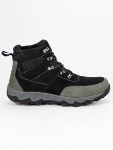 Pánské černé kožené trekové boty