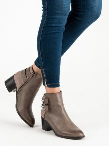 Stylové hnědé botky na zip