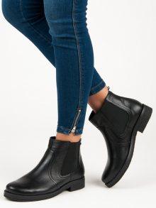 Vínové kožené kotníkové boty