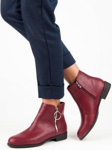 Vínové kotníkové boty na plochém podpatku