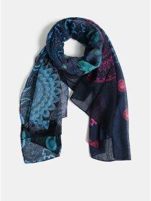 Tmavě modrý šátek s motivem mandal Desigual Pliss 47dbc18dc2