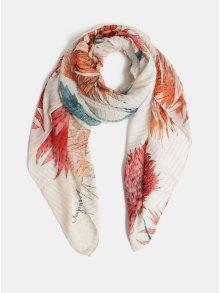 Oranžovo-krémový květovaný šátek Desigual Rectangle e19bcae8d7