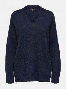 Modrý volný svetr s příměsí vlny Selected Femme Livana
