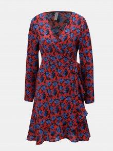 Modro-červené květované zavinovací šaty s volánem Blendshe Trophy