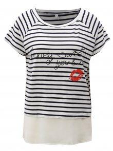 Modro-bílé pruhované tričko s potiskem a volánem Blendshe Honey
