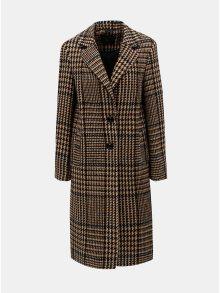 Hnědý kostkovaný kabát s příměsí vlny Dorothy Perkins