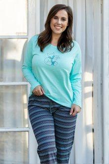 Dámské pyžamo Gina 19063P - barva:GINLYMDCF/aqua/hypermangan, velikost:M