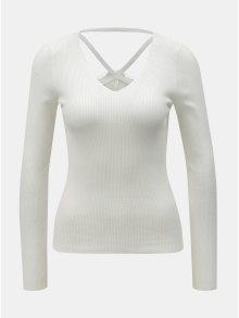 Bílé žebrované tričko s krajkou na zádech Miss Selfridge