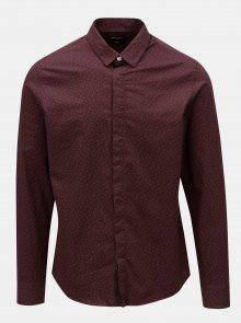 2c2671c575b Vínová vzorovaná slim fit košile Only Sons ONLY   SONS