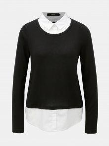 Černý svetr s všitou košilovou vsadkou VERO MODA Jolene