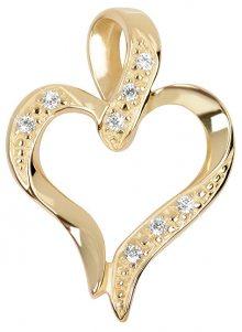 Brilio Přívěsek ze žlutého zlata s krystaly Srdce 249 001 00430 - 1,15 g